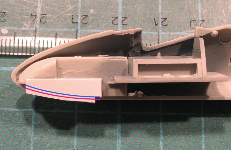 Focke Wulf FLITZER, Revell model kit, front undercarriage well inside fuselage