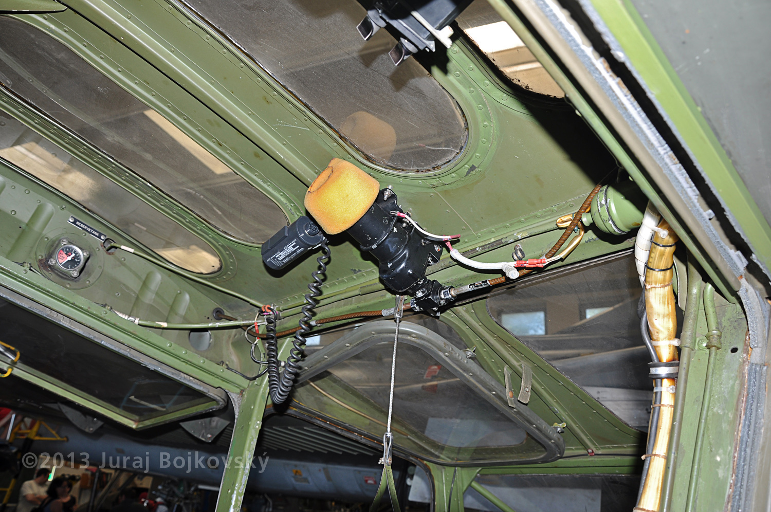 Cessna O -1 / L-19 Bird Dog, Austrian army, cockpit, top wall, right-hand side, rear