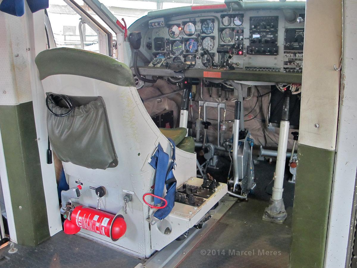 Pilatus Porter interior, pilot's seat and console