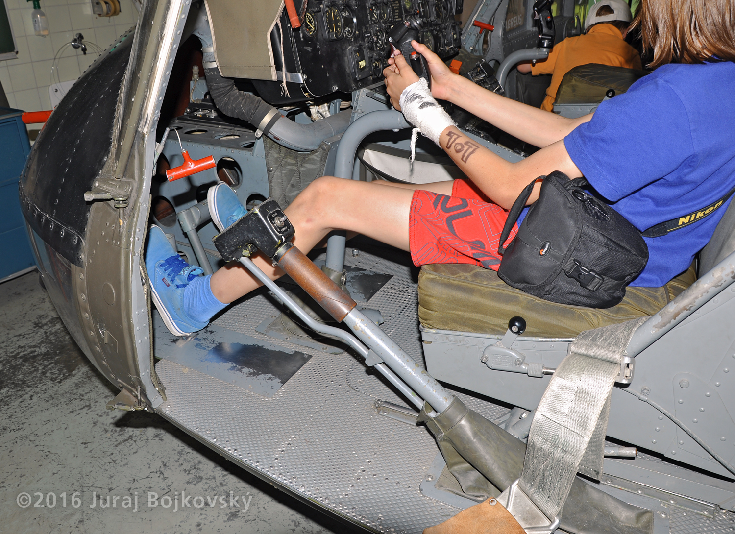 UH-1B controls, collective lever