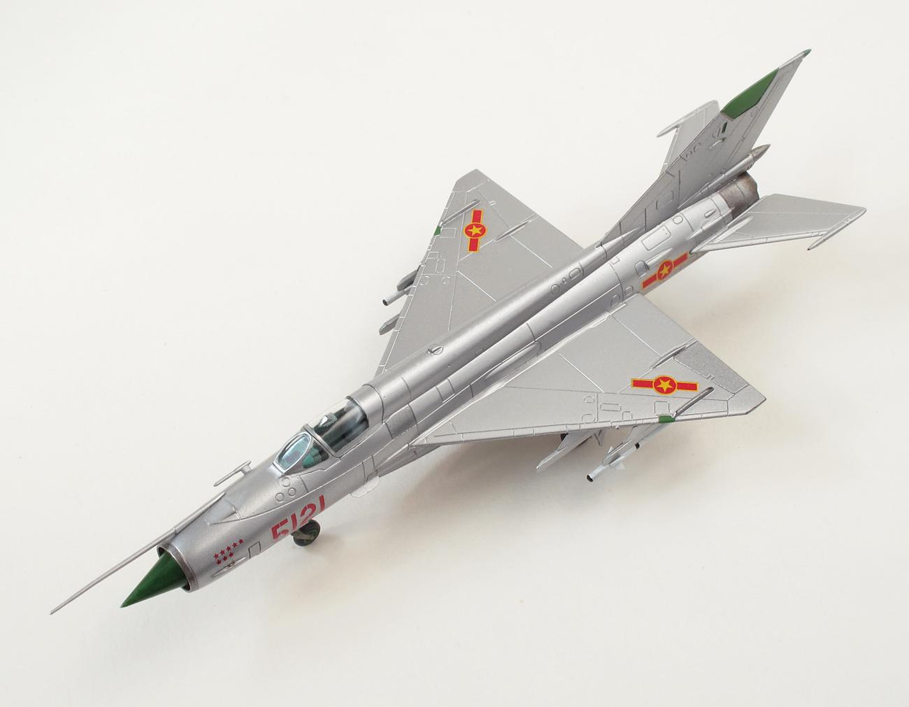 MiG-21MF eduard 1/144 bočný pohľad, zvrchu, ľavá strana