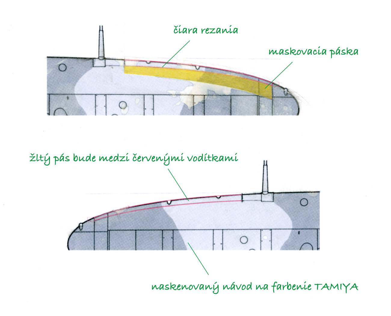 Maskovanie žltých pásov nábežných hrán krídel